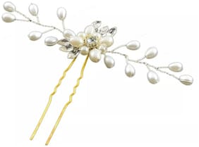 Women's Bridal Vintage Butterfly Alloy Hair Comb Headwear Party Fashion Jewelry (1Pair-Silver & RoseGold)