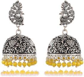 Womens Earring Designer Silver Brass Jhumki Earrings for Women (E369)