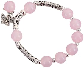 Enso Beaded Charm Bracelet - Pink and Silver