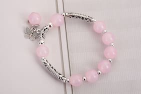 Imported Pink and Silver Beaded Charm Bracelet