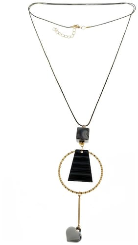 Enso Long Chain with Pendant - Black and Gold