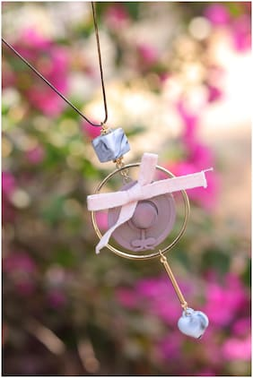 Imported Pink Statement Bow Pendant with Long Chain