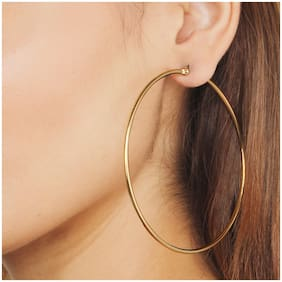 Classic Gold Plated Round Shape Oversized Hoop Earring for Girls and Women
