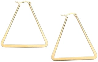 Classic Gold Plated Long Triangle Hoop Earring for Girls and Women