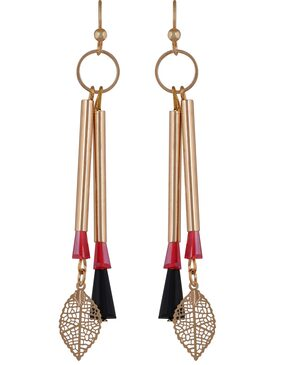Gold and Red Statement Drop Earrings