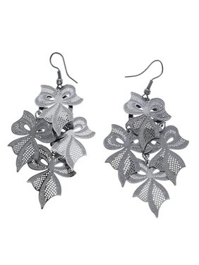 Grapes Leaf Shape Silver Earrings