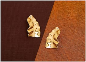 Imported Christmas Special Golden Beaten Metal Earrings