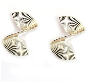 Enso Beaten Metal Earrings - Gold