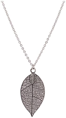 Imported Grey Filigree Leaf Pendant with Long Chain