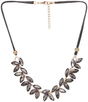 Imported Statement Grey Stone Leaf Necklace