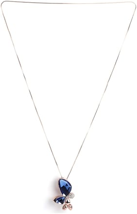Imported Layered Silver Long Chain Butterfly Crystal Pendant