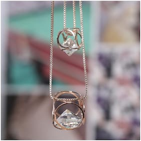 Imported Layered Golden Chain with Crystal Pendant