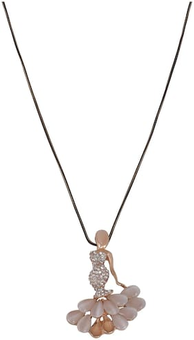 Peach Colored Dancing Doll Long Necklace