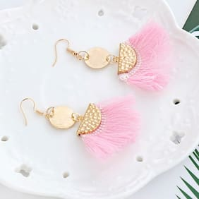 Enso Tassel Earrings - Pink and Gold