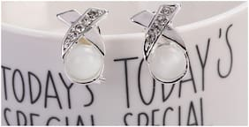 Moonstone White and Silver Ear studs