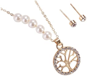 Enso Pearl String Necklace with Tree of Life Pendant - Gold and Pink