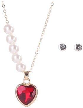 Enso Pearl String Necklace with Crystal Heart Pendant - Red and Gold