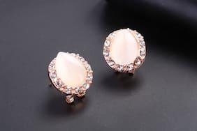 Peach Stone Stud Earrings