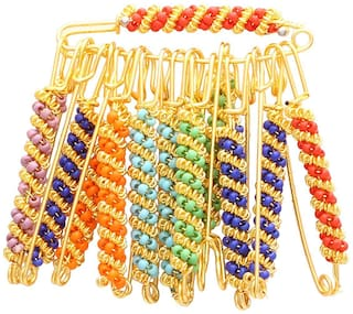Wonder Star Multi Colored Safety pins for Saree/Blouse/Hjjab/Dupatta   12 Pcs (Assorted Color & Design)
