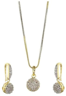 YouBella American Diamond Gold Plated Pendant Set with Earrings for Girls and Women