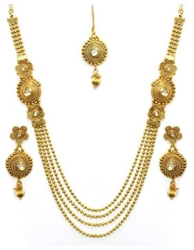YouBella Antique Kundan Traditional Maharani Temple Necklace Set for Women