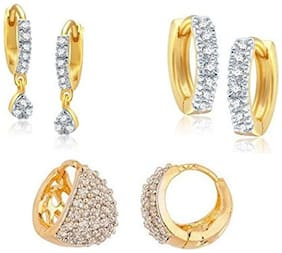 YouBella Combo of Trendy Gold plated Hoop Earrings for Women
