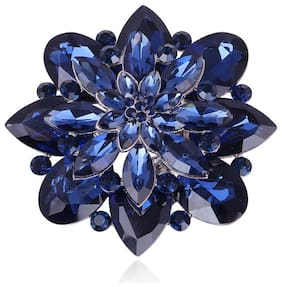 YouBella Crystal Jewellery Silver Plated Brooches for Girls (Blue) (YB_Brooch_76)