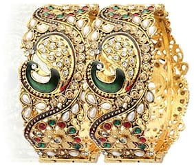 Youbella Dancing Peacock Antique Gold Plated Bangle Set For Women