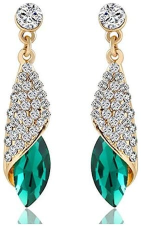 YouBella Fashion Jewellery Stylish Crystal Fancy Party Wear Earrings for Girls and Women (Golden Green)