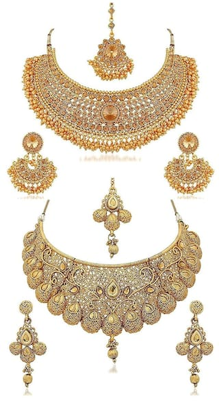 5e8de54ad4 YouBella Fashion Jewellery Gold Plated Combo of Two Traditional Necklace  Set for Women Party wear and