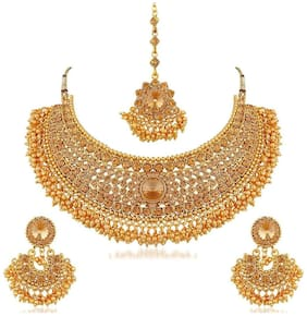 YouBella Fashion Jewellery Gold Plated Choker Necklace Set for Women