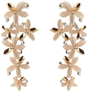 Youbella Golden-White Gold Plated Dangle & Drop Earrings For Women