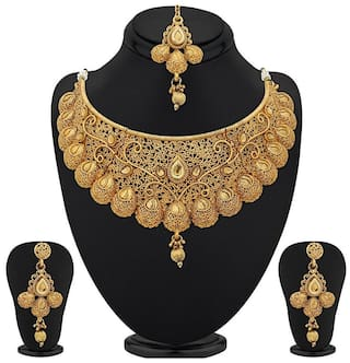 2f7a41372e9 Buy Youbella Gold Plated Necklace Jewellery Set With Earrings For ...