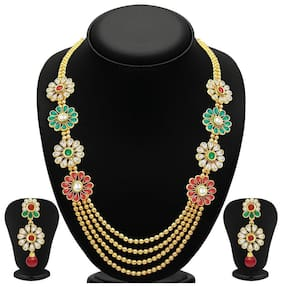 Youbella Gold Alloy Multi-strand Necklace Set With Earrings For Women