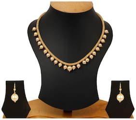 YouBella Jewellery Gold Plated Pearl Necklace Set with Earrings