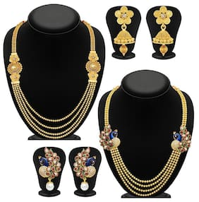 YouBella Jewellery Gold Plated Combo of Two Necklace Set with Earrings