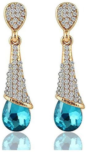 YouBella Jewellery Zircon Fancy Party Wear Earrings for Women Traditional Earrings for Girls (Blue)