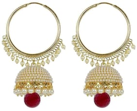 YouBella Jewellery Traditional Gold Plated Fancy Party Wear Jhumka / Jhumki Earrings for Girls and Women (RED)