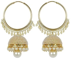 YouBella Jewellery Traditional Gold Plated Fancy Party Wear Jhumka / Jhumki Earrings for Girls and Women (WHITE)
