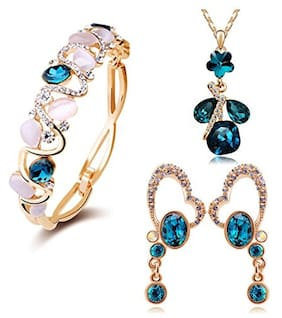 Youbella Jewellery Crystal Combo Of Pendant Necklace Set;Bangle Bracelet And Fancy Party Wear Earrings For Girls And Women