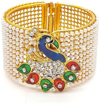 125faaa7da2fb YouBella Jewellery Traditional Gold Plated Pearl Studded Peacock Bracelet  Bangle For Girls and Women