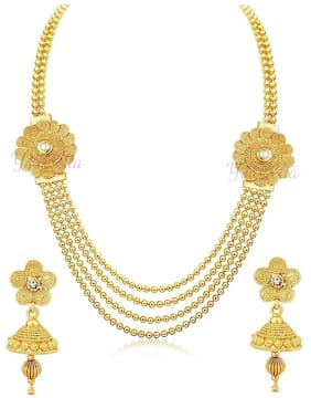 YouBella Jewellery Gold Plated Traditional Necklace set for women party wear Jewellery set with Earrings For Girls/Women