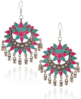 YouBella Jewellery Stylish Oxidised Afghani Tribal Fancy Party Wear Earrings for Women Traditional Earrings for Girls(Multi_Color1)