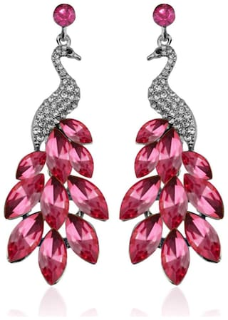 YouBella Latest Stylish Fancy Party Wear Silver Plated Dangler Earrings for Women (Pink) (YBEAR_32282)