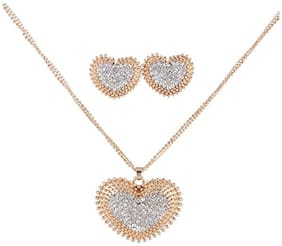 Youbella Presents Gracias Collection Heart Shaped Crystal Jewellery Necklace Set / Pendant Set With Earrings For Girls And Women