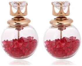 YouBella Presents L'amore Collection Crsytal Jewellery Two sided Ball shaped Earrings for Girls and Women