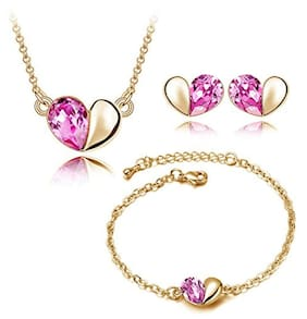 Youbella Presents L'amore Collection Heart Shaped Crystal Jewellery Combo Of Pendant Set / Necklace Set With Earrings And Bracelet For Girls And Women