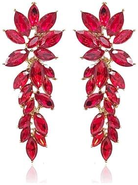 YouBella Stylish Latest Design Jewellery Gold Plated Dangler Earrings for Women (Red) (YBEAR_32431)