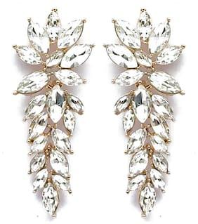 YouBella Stylish Latest Design Jewellery Gold Plated Dangler Earrings for Women (White) (YBEAR_32430)