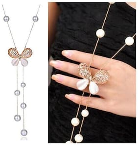 YouBella Stylish Pendants for Girls with Long Chain Pendent Party Western Wear Necklace For Women & Girls